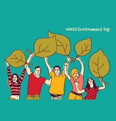 happy group people world environment day green vector image