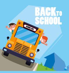 happy students kids in the school bus vector image