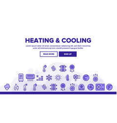 Heating and cooling system linear icons set vector
