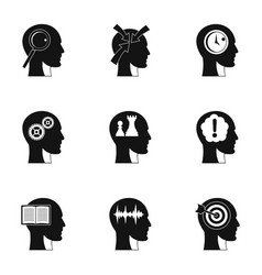 human head with different things icons set vector image