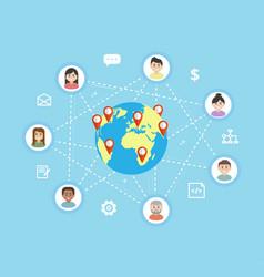 International teamwork - flat vector
