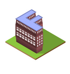 Isometric building letter f form vector