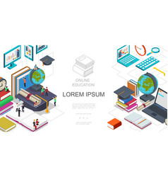 Isometric online education template vector