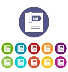 Law book set icons vector image