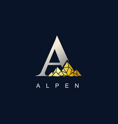 letter a with golden mountain logo vector image