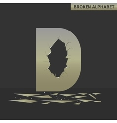 Letter D Broken mirror vector