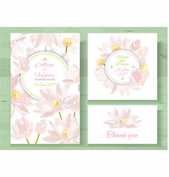lotus invitations set vector image