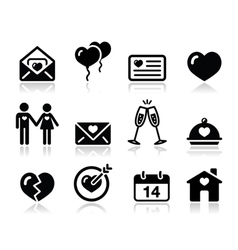 Love Valentine black icon set vector image