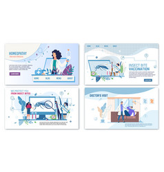 Medical services for help flat landing page set vector
