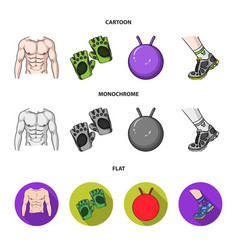 Men torso gymnastic gloves jumping ball vector