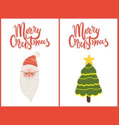 merry christmas greeting cards santa green tree vector image