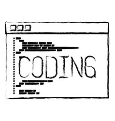 Monochrome blurred silhouette of programming vector