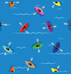 Multicolored kayaks with paddlers on blue water vector