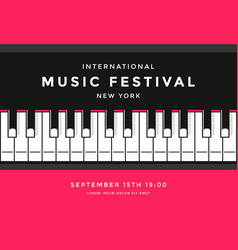 music festival poster design with piano keys vector image