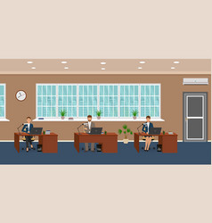 office room interior with three workplaces and vector image vector image