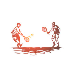 old couple play tennis senior concept hand vector image
