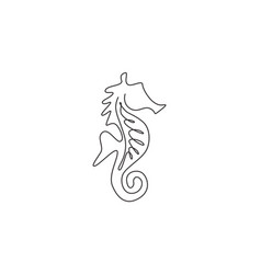 one single line drawing cute sea horse vector image