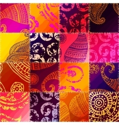 Orange patchwork with ornament vector