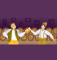 People in traditional clothes drinking beer vector
