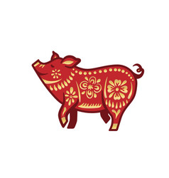 Pig for happy chinese new year celebration in red vector