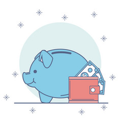 piggy with money savings vector image