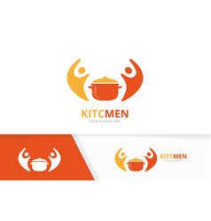 Pot and people logo combination kitchen vector