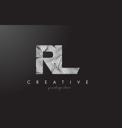 Rl r l letter logo with zebra lines texture vector