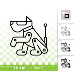Robot dog simple black line icon vector
