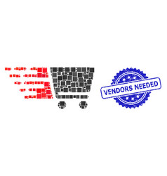 Rubber vendors needed seal and square dot collage vector