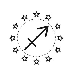 Sagittarius sign of the zodiac flat symbol vector