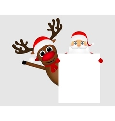 Santa claus and reindeer with a blank white vector