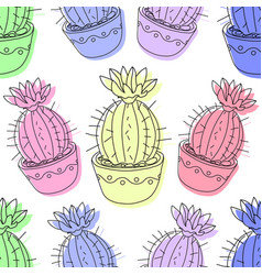 Seamless pattern with cactus and succulents in the vector