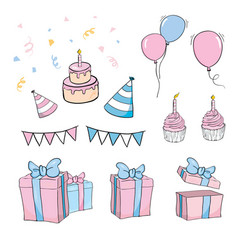 Set birthday object against white background vector