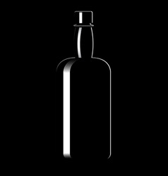 Silhouette of a bottle with an alcoholic drink vector