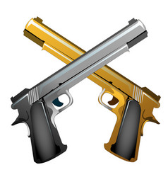 Silver and gold souvenir crossed handguns isolated vector