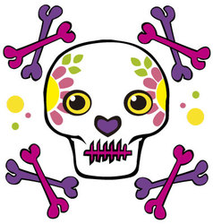 Skull and crossbones with flowers vector