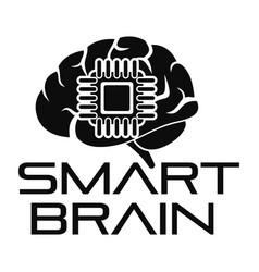 Smart brain logo simple style vector