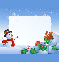 Snowman and squirrel frame vector