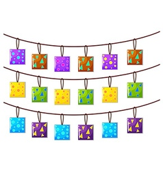 Square ornaments hanging on the rope vector image