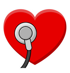 stethoscope and heart pulse care symbol element vector image