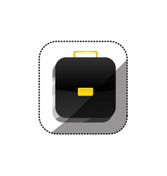 Sticker color square 3d button with briefcase vector