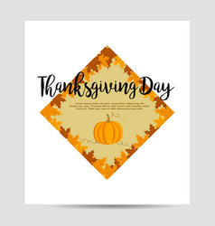 thanksgiving background with foliage and pumpkin vector image