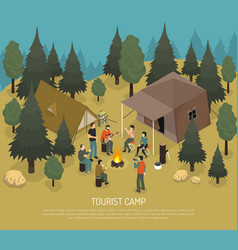 Tourist camp isometric vector