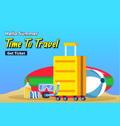 travel packing suitcase for beach vacation poster vector image
