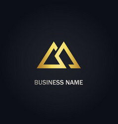 Triangle double line gold logo vector