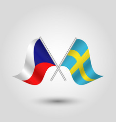 Two crossed czech and swedish flags vector