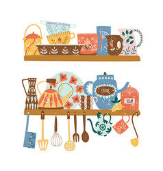Two shelves with ceramic tableware and hanging vector