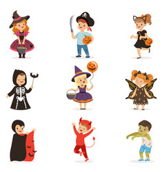 Ute little kids in colorful halloween costumes vector
