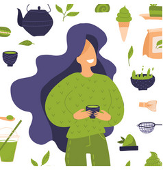 Various tea products made from matcha yonf woman vector