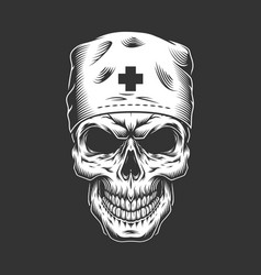 Vintage doctor skull in medical hat vector